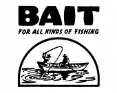 Bait 2 - For All Kinds Of Fishing - Retro Ad Art Banner