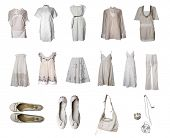 Collection of white clothes and accessories