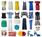 collection of woman clothes and accessories