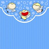 Cute card with baby angels