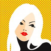 image of pop art  - Retro style portrait of a young blonde woman - JPG