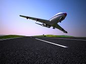 The plane on the runway