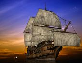 foto of pirate ship  - The ancient ship in the sea - JPG