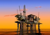 picture of oil rig  - Oil Rig at late evening - JPG