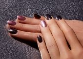 Manicured Nails With Shiny Nail Polish. Manicure With Bright Nailpolish. Fashion Art Manicure With S poster