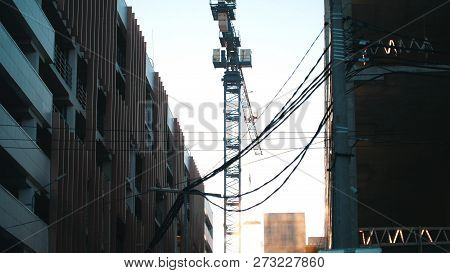 Working Tower Crane Hanging Wires