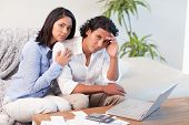 Frustrated young couple underestimated their spending
