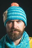Winter/autumn Concept. Bearded Man In Knitted Hat And Scarf. Men Winter Fashion Style. Ready For Win poster