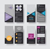 Set Of Vector Black Flyer Templates Of Dl Format With Space For Photos And Various Geomteric Forms O poster