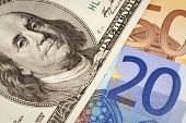 hundred dollars USA end euro background