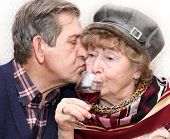 adorable senior couple kissing