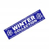 Grunge Rectangle Winter Collection Stamp Seal With Snowflakes And Lines. Vector Winter Collection Gr poster