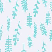 Seamless Pattern Jungle Foliage Plants And Foliage Cute Seamless Pattern. Vector Outline Leaves poster