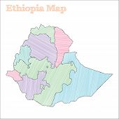 Ethiopia Hand-drawn Map. Colourful Sketchy Country Outline. Fascinating Ethiopia Map With Provinces. poster