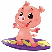 Pig with surf. Funny cartoon and vector sporty isolated character