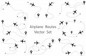Airplane Route Vector Set. Line Path Vector Icon Of Air Plane Flight Route With Start Point And Dash poster
