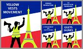 Yellow Vests Protest Symbols With Eiffel Tower In Paris France. All The Objects Are In Different Lay poster