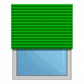 Green Roller Blind Icon. Cartoon Of Green Roller Blind Vector Icon For Web Design Isolated On White  poster