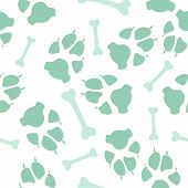 Colorful Dog Or Cat Footprint And Bone Vector Seamless Pattern. Colorful Paw Bone Seamless Template, poster