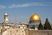 image of aqsa  - The wailing wall and the mousque of Al - JPG