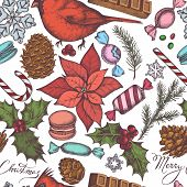 Seamless Pattern With Colored Cardinal, Macaron, Lollipop, Bar, Candies, Snowflakes, Cones, Letterin poster
