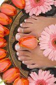 Spa-Behandlung mit schönen eleganten Tulpen und Gerbera