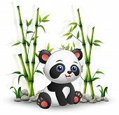 Cartoon Baby Panda Sitting Among Bamboo Stem poster