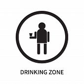 Drinking Zone Icon Isolated On White Background. Drinking Zone Icon Simple Sign. Drinking Zone Icon  poster