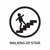 Walking Up Stair Icon Isolated On White Background. Walking Up Stair Icon Simple Sign. Walking Up St poster