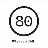 80 Speed Limit Icon Isolated On White Background. 80 Speed Limit Icon Simple Sign. 80 Speed Limit Ic poster