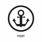 Port Icon Isolated On White Background. Port Icon Simple Sign. Port Icon Trendy And Modern Symbol Fo poster