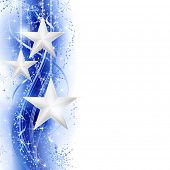 Border, frame with silver stars over a blue silvery wavy pattern embellished with stars and snow fla