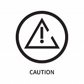 Caution Icon Isolated On White Background. Caution Icon Simple Sign. Caution Icon Trendy And Modern  poster