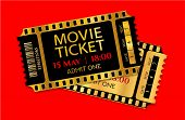 Admission Movie Ticket Template. Vector Mockup Pass (tear-off) With Gold And Black Film Tape Creativ poster