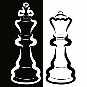 Contrast Couple, White King And Black Queen, Chess Pieces poster