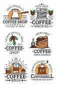 Coffee Shop, Cafe And Coffehouse Icons Or Emblems. Vector Coffee Machine Maker, French Press And Esp poster