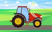 Tractor Driving On Green Field Vector. Automobile With Cabin For Tractorist Driver, Ladder And Wheel poster