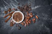 Top View Of Chocolate Chips In White Bowl And Whole Cocoa Beans With Spices poster