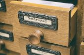 The Archives Card Catalog , Old Wooden File Catalog Box. poster