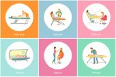 Tanning Spa Salon And Body Wrap For Detox And Slimming Icons Set Vector. Hair Removal Wax Stripes Ep poster