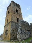 Panama La Vieja, ruins of the cathedral tower and the city hall main walls
