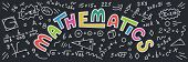 Mathematics. Maths Doodles With Lettering On Black Background. Education Vector Banner. poster