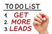 Hand Writing Get More Leads In To Do List With Red Marker On Transparent Wipe Board Isolated On Whit poster