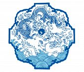 Chinese traditional pattern--Two dragons play ball