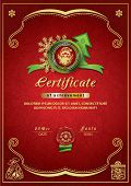 Christmas Red Certificate. Santa Inside Emblem, Xmas Background poster