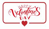 Lettering Happy Valentines Day Banner. Valentines Day Greeting Card Template With Typography Text Ha poster