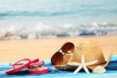 picture of summer beach  - Summer straw hat with towel - JPG