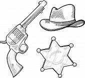 pic of vaquero  - Doodle style wild west cowboy and sheriff objects illustration in vector format including gun - JPG
