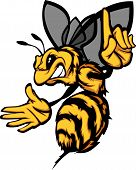 image of wasp sting  - Cartoon Vector Image of a Hornet or Bee with Hands and Wings - JPG