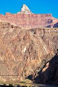 stock photo of zoroaster  - Kaibab Bridge and Zoroaster Temple in Grand Canyon - JPG